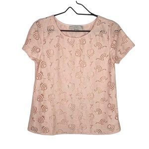 Loft Pink Floral Lace Short Sleeve Top Extra Small